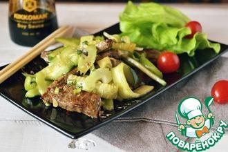 Рецепт: Огурцы с говядиной по-китайски