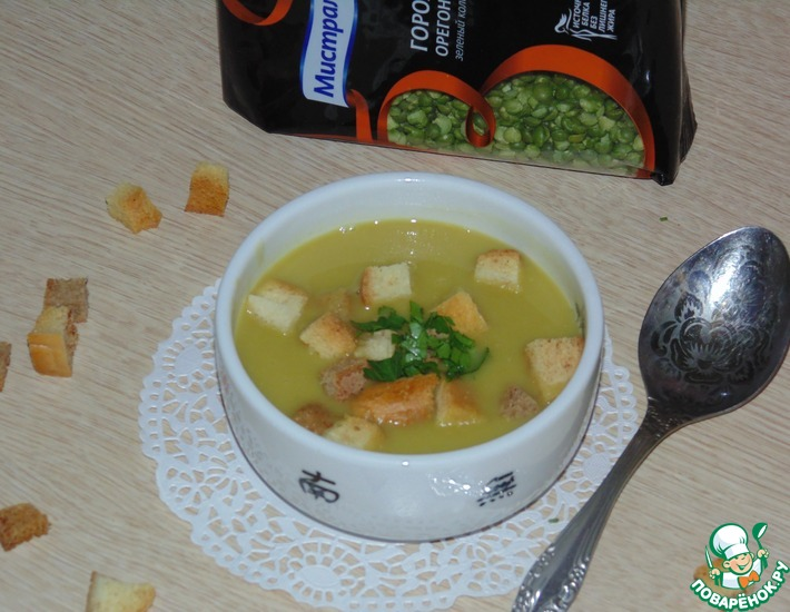Рецепт: Два варианта зелёного горохового супа