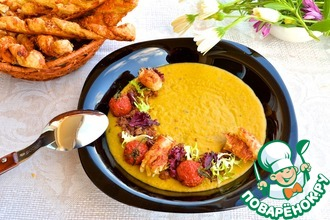 Рецепт: Крем-суп из чечевицы с томлеными помидорами