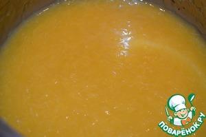Апельсины вымыть, очистить от кожуры и пленок. Измельчить в блендере, добавить сахар по вкусу и варить на слабом огне 5 минут после закипания. Дать остыть, добавить крахмал и слегка прогреть. Снова остудить.