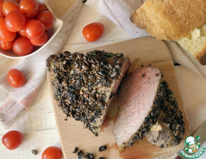 Рецепт: Говядина, запеченная в кофейных зернах