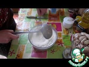 Рецепт Блинчики с грибами, сыром и ветчиной