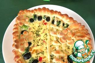 Рецепт: Пирог с маслинами и брокколи