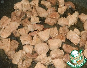 Meat cut into small pieces and fry.