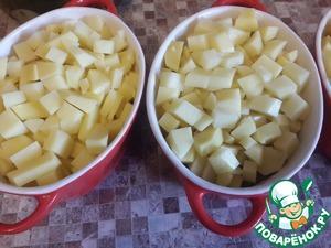 Далее - нарезанный кубиками картофель