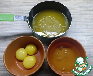 Желтки отделить от белков. Сливочное масло растопить, растворить в нем оставшийся сахар и оставить остывать.