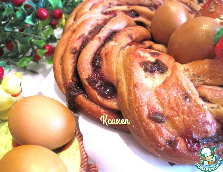 Рецепт: Пасхальный клубничный венок с шоколадом