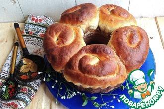 Рецепт: Праздничный Пасхальный пирог с шоколадным творогом