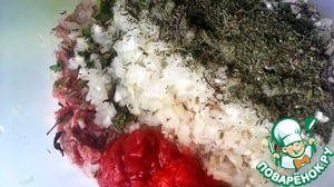 Then add the rice, pepper and tomato paste, fresh herbs and Basil susany.