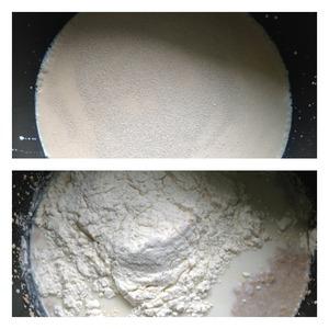 В теплое молоко положить соль, сахар, дрожжи, перемешать.   Добавить 1 стакан муки, перемешать и оставить опару на 20 минут в теплом месте
