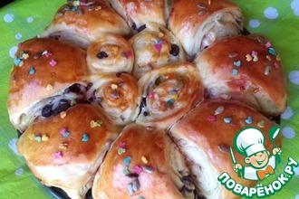 Рецепт: Пасхальная слоёная булочка с мармеладом