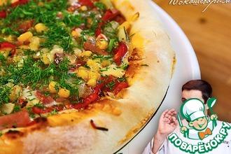 Рецепт: Пицца с сырным бортом