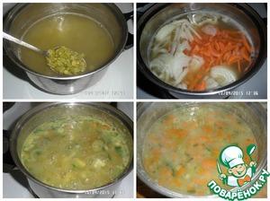 В кастрюлю к гороху добавляем картофель, морковь и лук. Варим еще минут 15.