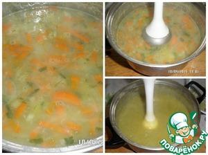 В уже сваренный суп добавляем соль и зелень, пюрируем блендером. Возвращаем на плиту, даем закипеть, но не кипятим.