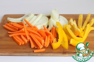 Cut julienne vegetables.