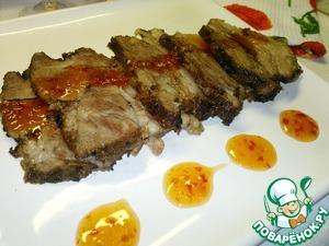 В результате мясо получилось на столько мягким, сочным и нежным, что есть его было одно удовольствие! И само собой этот очень вкусный маринад придал изюминку, пикантность мясу.    Угощайтесь и приятного аппетита!