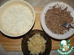 Лук обжарить, рис отварить, рыбу хорошо размять вилкой, без жидкости ( я совсем каплю добавляю, чтоб легче мять было..)