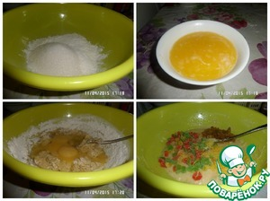 В чашку просеиваем оставшуюся муку, добавляем сахар, растопленное сливочное масло, молоко. Хорошо перемешиваем. Затем добавляем яйца. Хорошо перемешиваем. Добавляем цедру половины лимона, нарезанные цукаты и изюм. Перемешиваем.