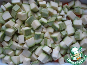 Zucchini cut into medium dice, and garlic.