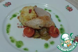 Рецепт: Куриная грудка с гратеном из цветной капусты
