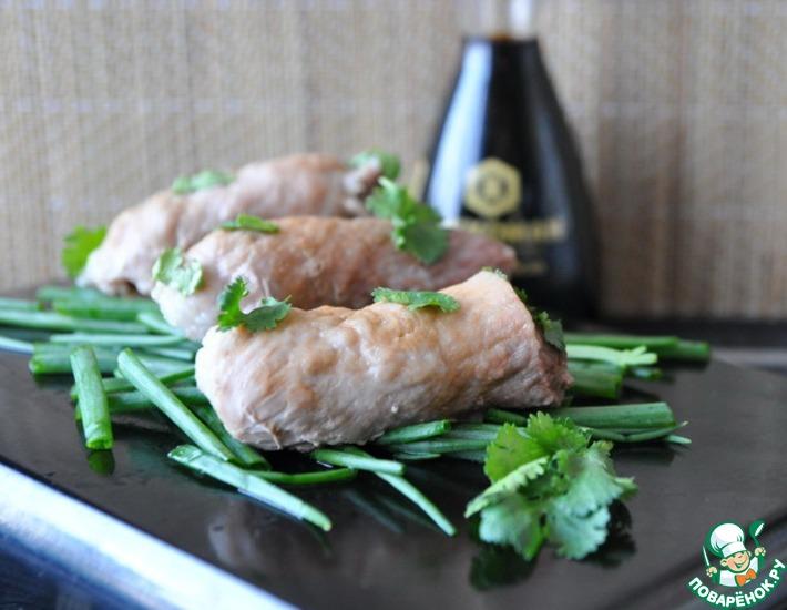 Рецепт: Рулетики из свинины по-японски