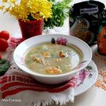 Суп из кролика с зеленой и красной чечевицей