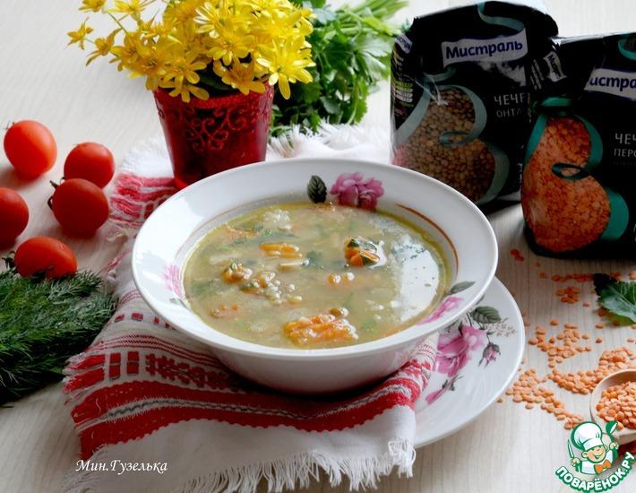 Рецепт: Суп из кролика с зеленой и красной чечевицей