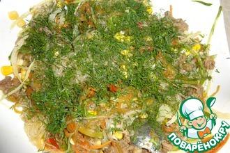 Рецепт: Фунчоза с говядиной и овощами