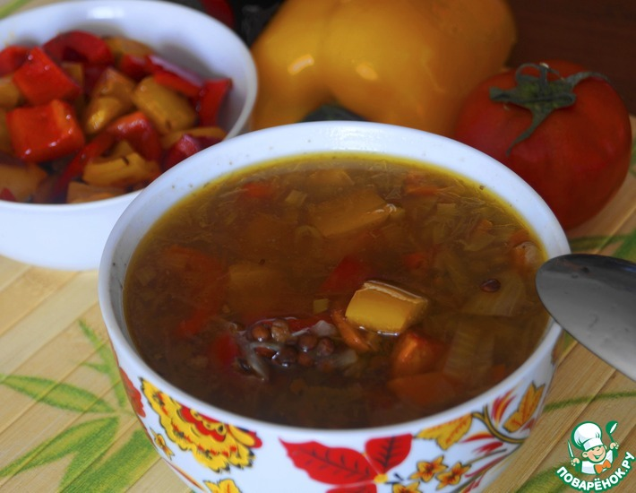 Рецепт: Суп с чечевицей и болгарским перцем