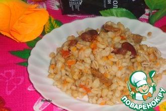 Рецепт: Перловка с фасолью и овощами