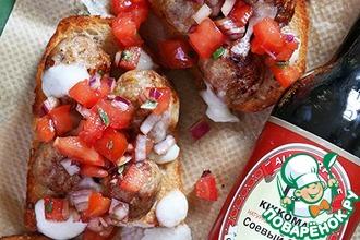Рецепт: Сэндвичи с фрикадельками, моцареллой и томатной сальсой