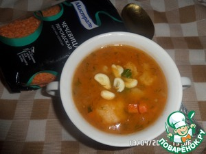 Served our soup, adding chopped garlic. Bon appetit!