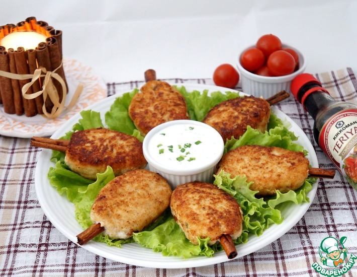 Рецепт: Куриные котлеты на палочках корицы