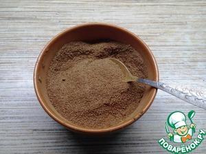 Приготовим начинку. Для этого сахар смешаем с какао. Булочки получаются очень сладкими за счет карамели, поэтому здесь можно сахара взять меньше.