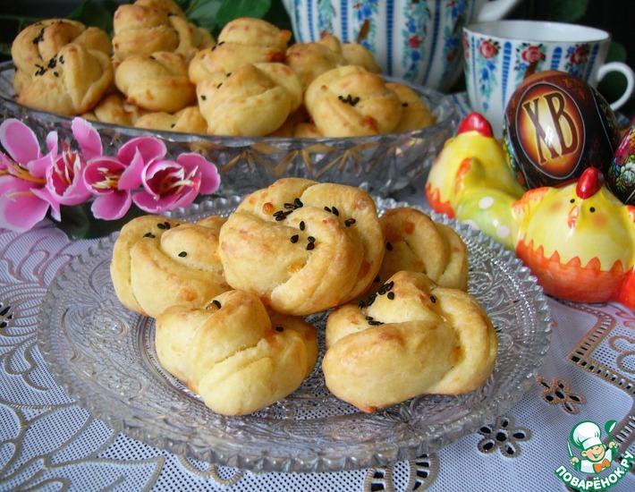 Рецепт: Мини-булочки Сырные цветочки