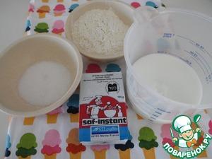 ТЕСТО - нам понадобится молоко, сахар, мука, дрожжи Саф-момент. Молоко нагреть и развести в нем дрожжи с сахаром, добавить 4ст. л. муки. Убрать в теплое место на 10 мин. бродить.
