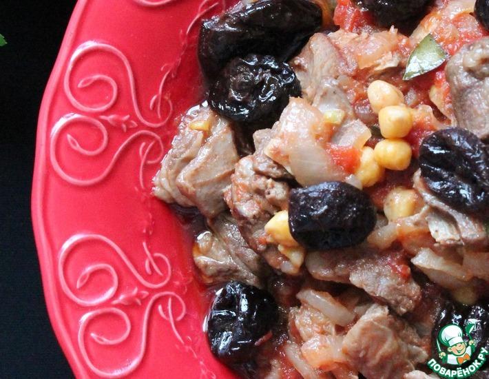 Рецепт: Баранина с нутом и черносливом