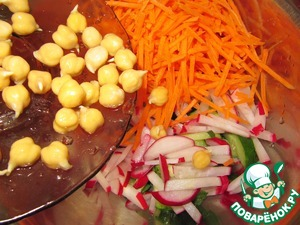 В миску положить овощи, добавить к ним промытый пророщенный нут