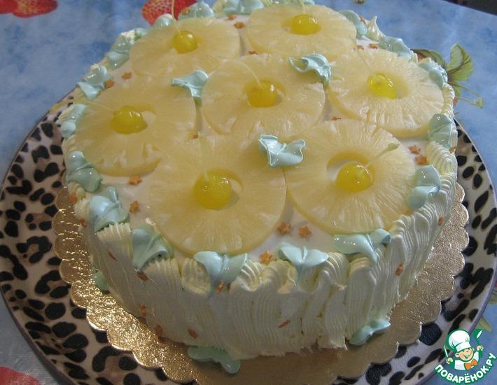 Рецепт: Торт Сливочно-фруктовый микс
