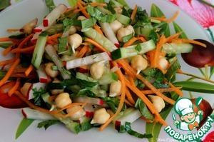Добавить также щавель, зелень. Посолить, заправить оливковым маслом и лимонным соком, перемешать. Положить салат на блюдо и подавать.