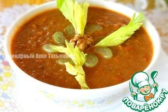Рецепт: Густой суп с чечевицей и грецким орехом