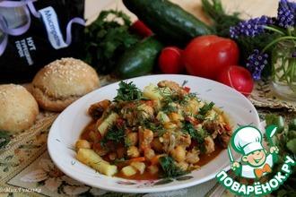 Рецепт: Нут с овощами и кроличьим мясом