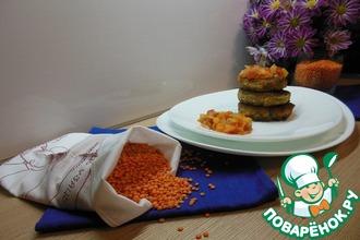 Рецепт: Котлеты из чечевицы под овощным соусом