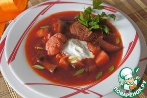 Рецепт Борщ гетманский с цветной капустой и баклажанами