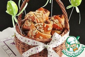 Рецепт: Двухцветные рогалики с кокосово-творожной начинкой