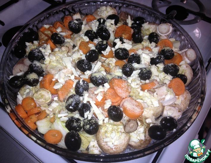 Рецепт: Рыбка с грибами и овощами в духовке