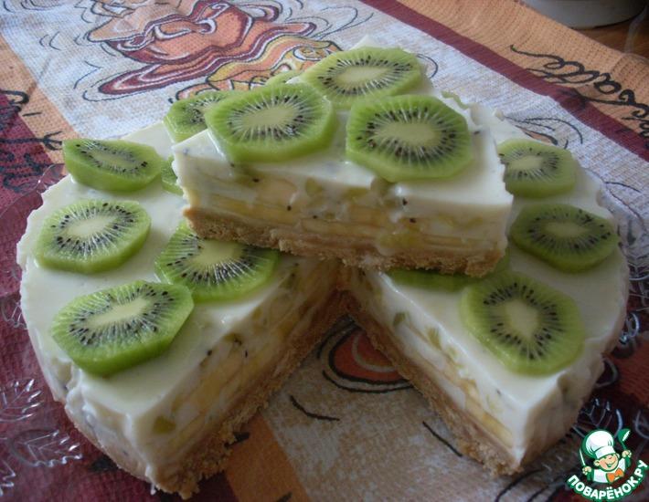 Рецепт: Торт йогуртовый с бананом и киви