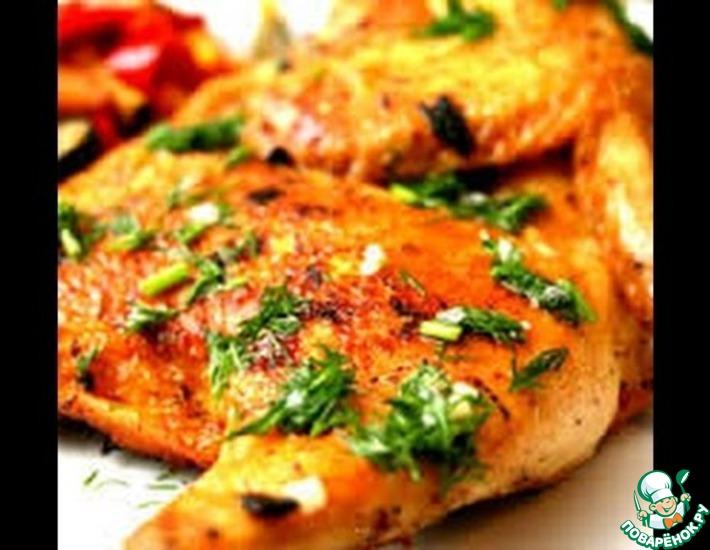 Рецепт: Цыпленок табака и сметанно-чесночный соус
