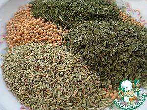 Подготовить сушеные травы и семена горчицы.