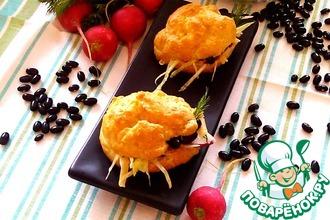 Рецепт: Кукурузные профитроли с фасолевым салатом